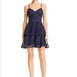 Aqua Tiered Star Lace Dress
